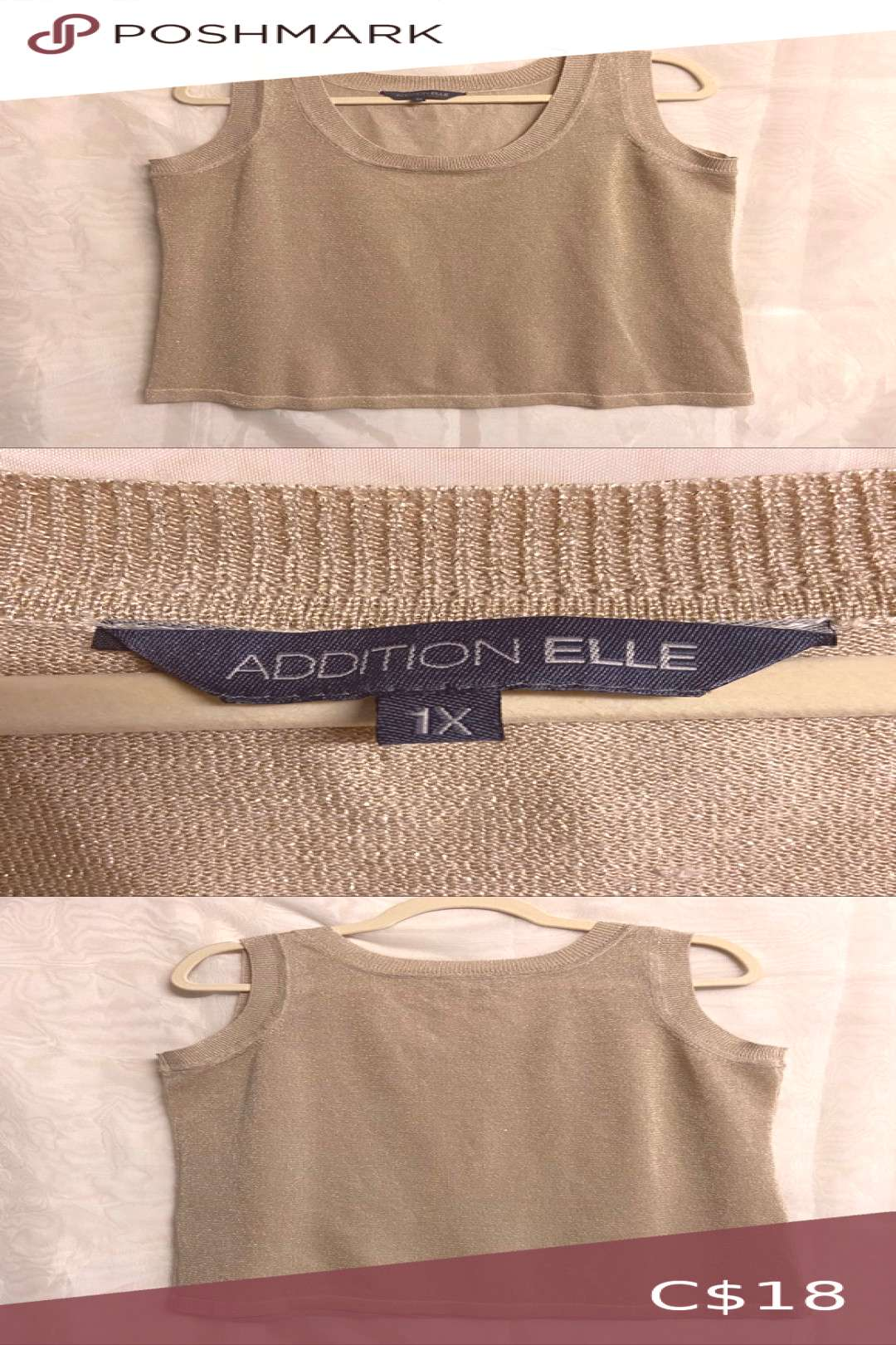 ⚡️2 for $20⚡️Addition Elle gold tank top Excellent condition  Lightweight, metallic gold kn