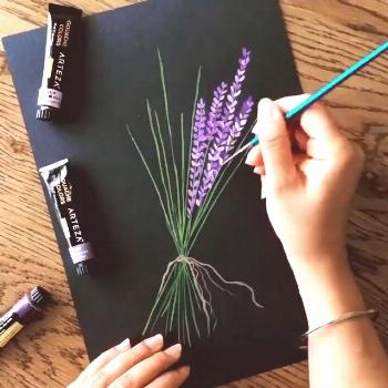 Easy acrylic painting flower lavender An easy abstract painting idea for beginners. Diy acrylic pai