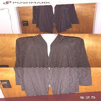 Gray & Black Striped Addition Elle Top\Cardigan This is a striped open too style cardigan  It is br