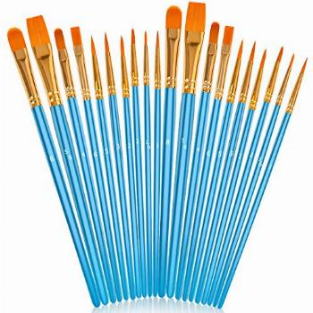 Soucolor Acrylic Paint Brushes Set, 20Pcs Round Pointed Tip