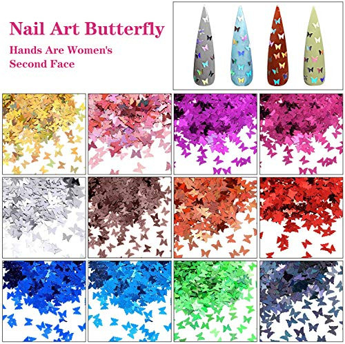 48 Colors Dried Flowers Nail Art Butterfly Glitter Flake 3D