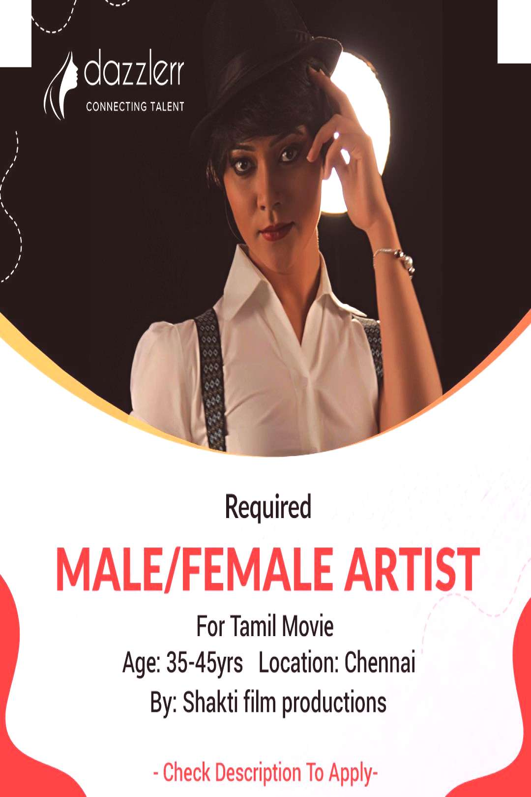 For Tamil Movie Male/Female Character Artist Required We are looking for fresher and experienced ma